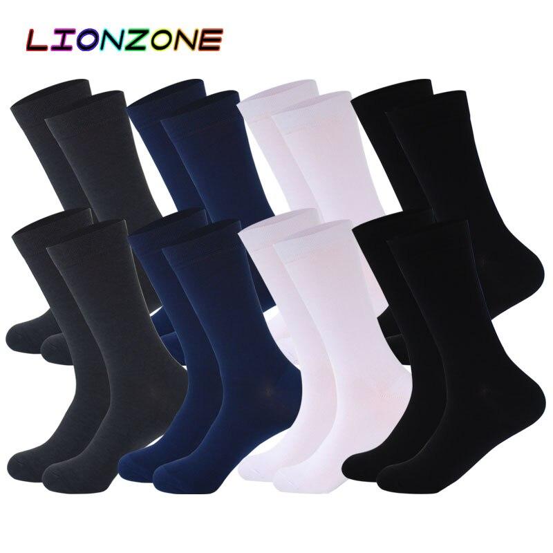 Lionzone 8 pares/lote puro cor meias de bambu para homens breatheable quente nenhum cheiro homem marca cavalheiro negócio vestido meias longo