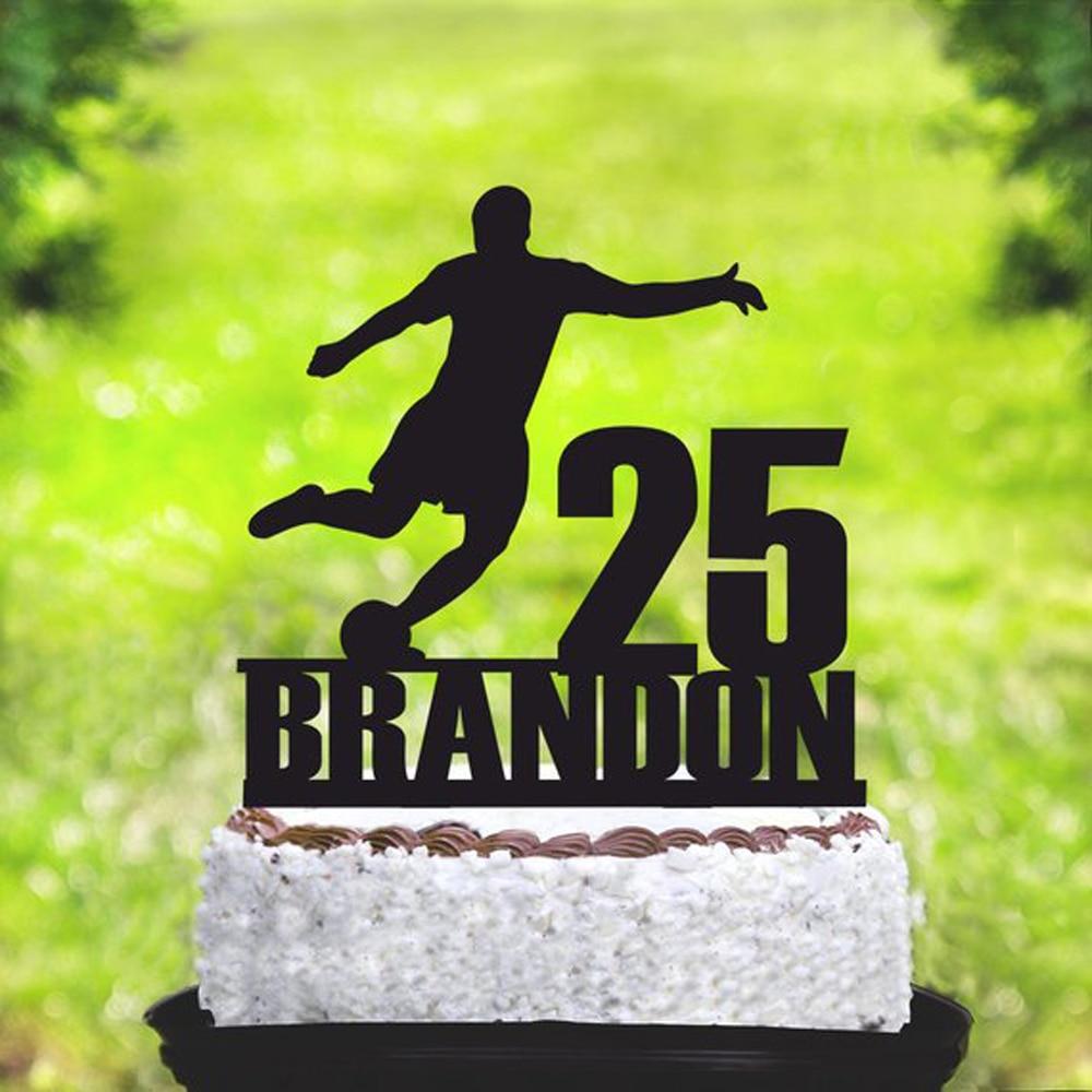 Personalizada nombre y edad de fútbol feliz fiesta de cumpleaños Pastel de Bodas Topper deporte tema pastel Topper decoraciones suministros