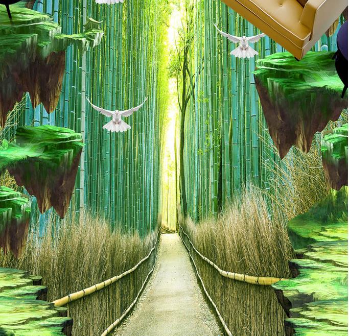 Papier peint imperméable 3d personnalisé   Pour salle de bain, carreaux de sol 3d passerelle en bambou, papier peint autocollant 3d, sols muraux