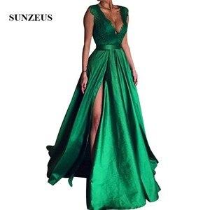 Emerald Green Evening Dresses A-line V Neck Lace Bodice Long Satin Formal Gowns Elegant Women Split Side Party Dress