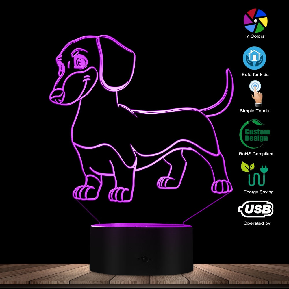 Sausage Dog Dachshund Kid Room Night Light Table Lamp Wiener-Dog Pet Puppy Glowing LED Optical Illusion Lamp Decorative Lighting