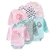 6 teile/los Sommer Baby Mädchen Bodysuit Langarm Lippenstift leopard Gedruckt infant Overall Baumwolle Baby Gesamt Neugeborenen Kleidung