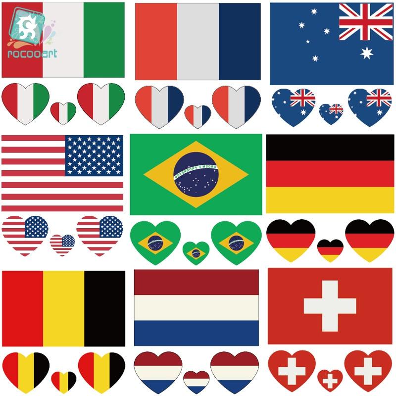 Rocooart CCFlags 6X6cm, bandera de Estados Unidos, Australia, Brasil, Alemania, tatuaje temporal, calcomanía para arte corporal, transferencia de agua, tatuaje falso