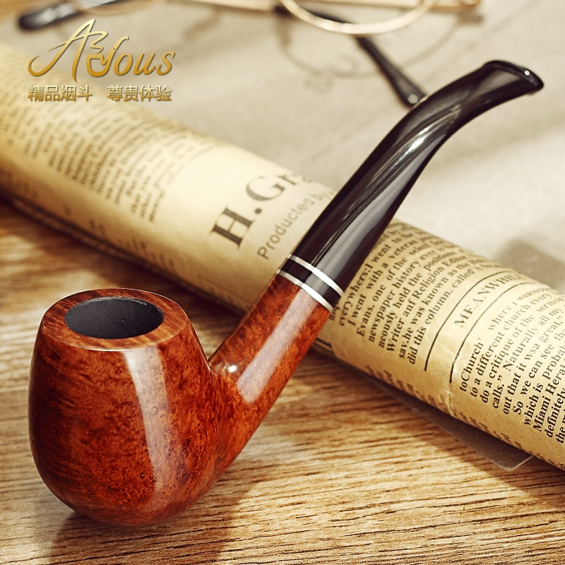 Tobacco Pipe Briar Pipes Wooden Bent Smoking Pipes  Cigarette Accessories
