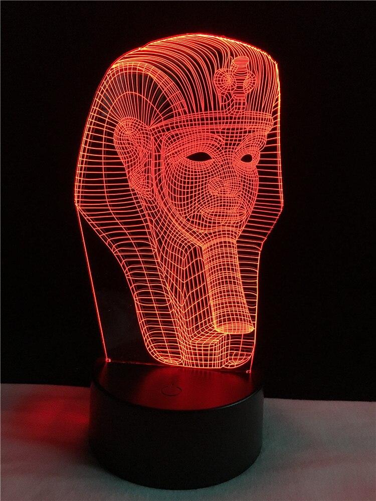 Cable de iluminación 3D decorativo en forma de esfinge egipcia LED USB Luz de noche de dormitorio Multicolor lámpara de mesa amor historia amigos regalos