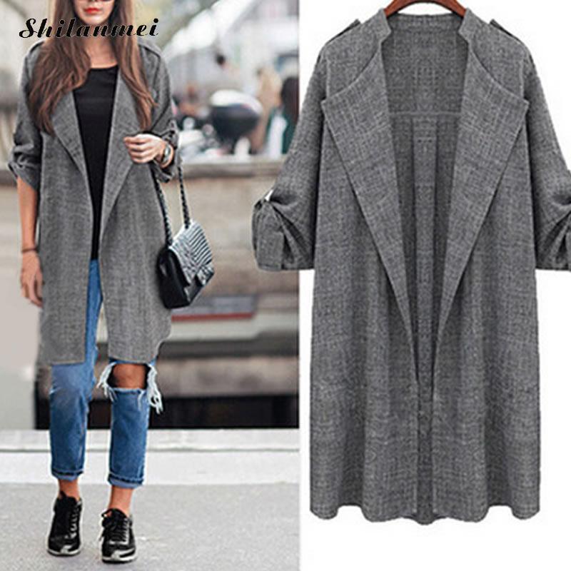 Europe 2018 femmes Long manteau boutonnage gris costume Blazer veste costume en lin femmes grande taille dames vêtements dextérieur femme travail costumes 5XL