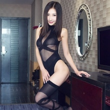 Quality Sexy Black Sheer Cross Bandage Stripe Open Bra Teddy with Long Stocking Lingerie Set  Bodysuit Hot Erotic