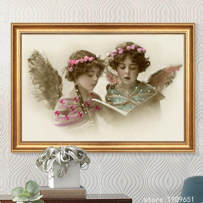 Figurines religieuses classiques   Toile des anges, pas de cadre, peinture à lhuile imprimée sur le coton, décoration artistique