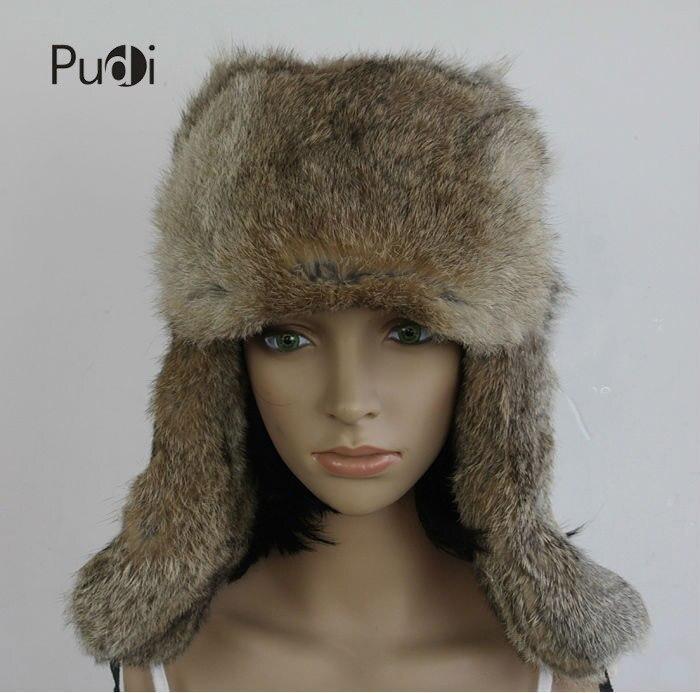HR007 Real conejo bombardero trapper hat Aviator hat casco cap hat auténtica piel de conejo gorro sombreros de invierno para mujeres