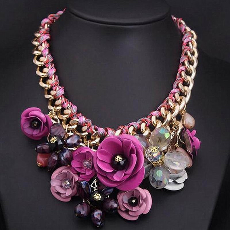 Collares de moda, collar de flores grandes para mujer, Gargantilla gruesa, collares y colgantes, collar de resinas grandes fleurs