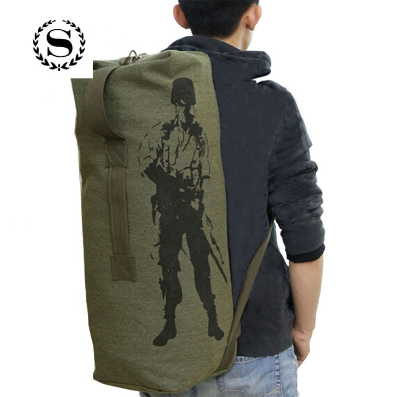 Scione, Unisex, mochilas de viaje con cordón, bolso de hombro de lona multifunción militar, mochila portátil cilíndrica de gran capacidad