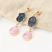 2019 boho handmade resin crystal pink fairy earrings long bling gold earrings for women girl elegant gift chic jewelry wholesale
