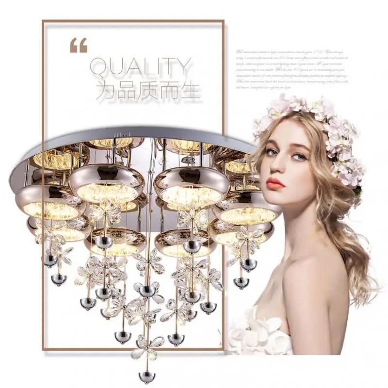 Plafonnier Led circulaire en cristal avec télécommande, design moderne, luminaire décoratif de plafond, idéal pour un salon ou une chambre à coucher
