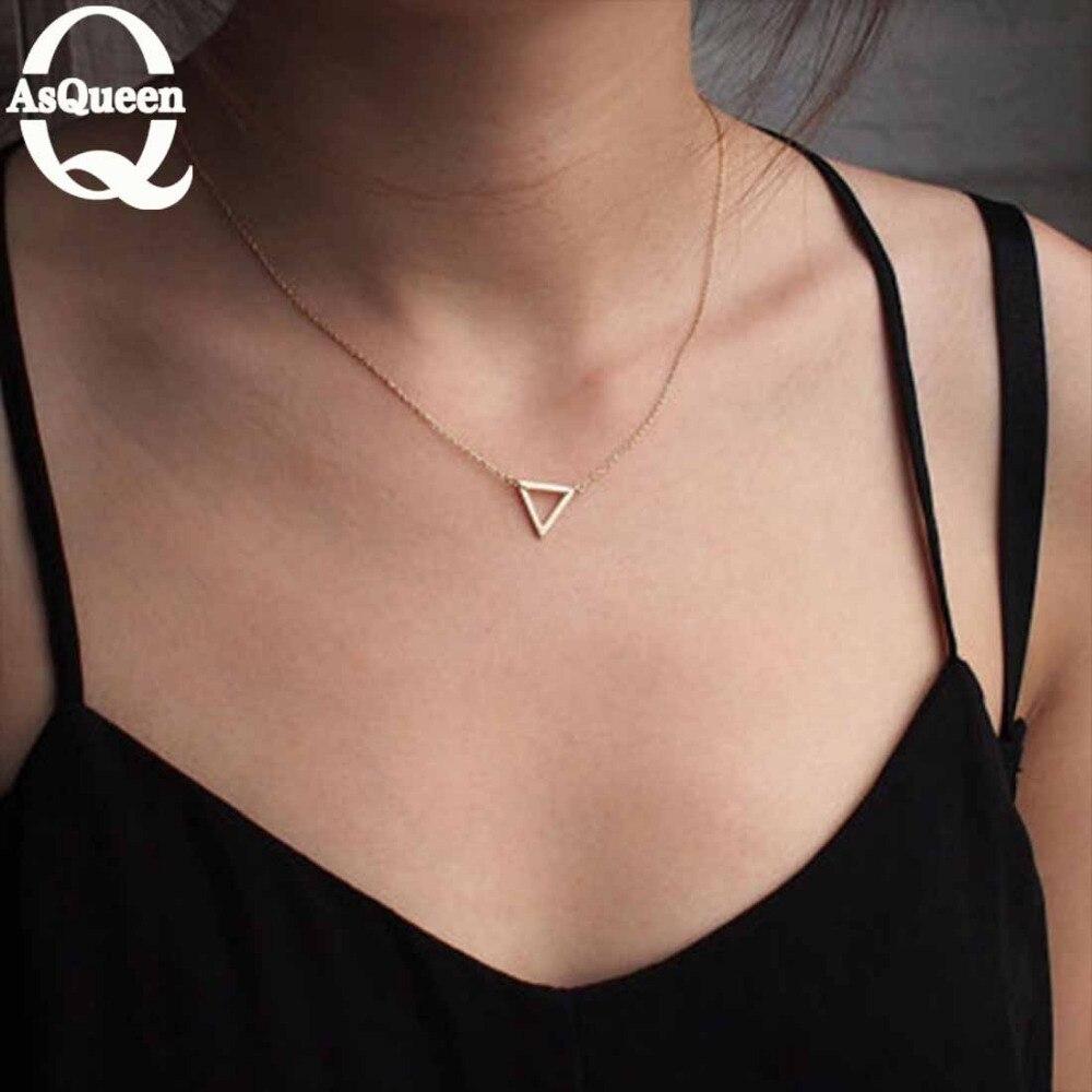 Simple, delicado collares de cadena hueco collar triángulo pequeño Mini Color oro/Color plata triángulo Collar para las mujeres