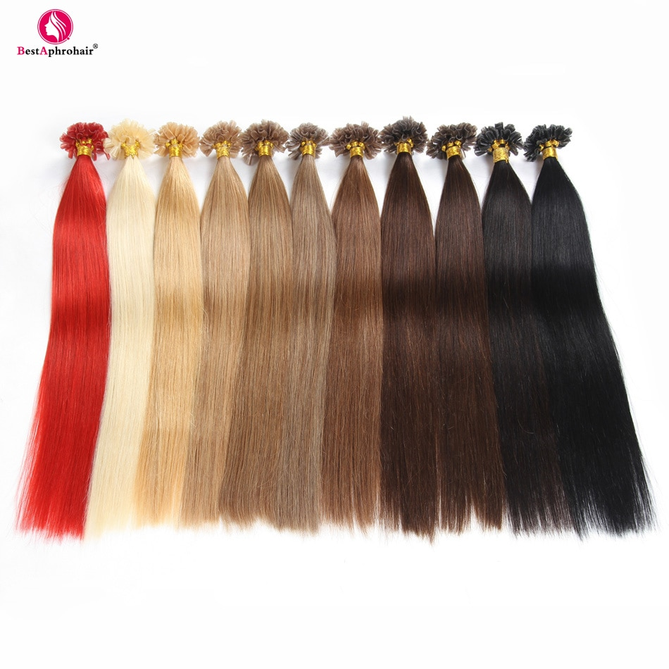 "Afro cabello queratina U extensiones de cabello 0,5 g/s 50 g/lote cabello humano sin Remy recto 18 ""-24 ""pulgadas #1 # 1B #2 #4 #6 #8 #12 #16 #27 #613 # rojo"