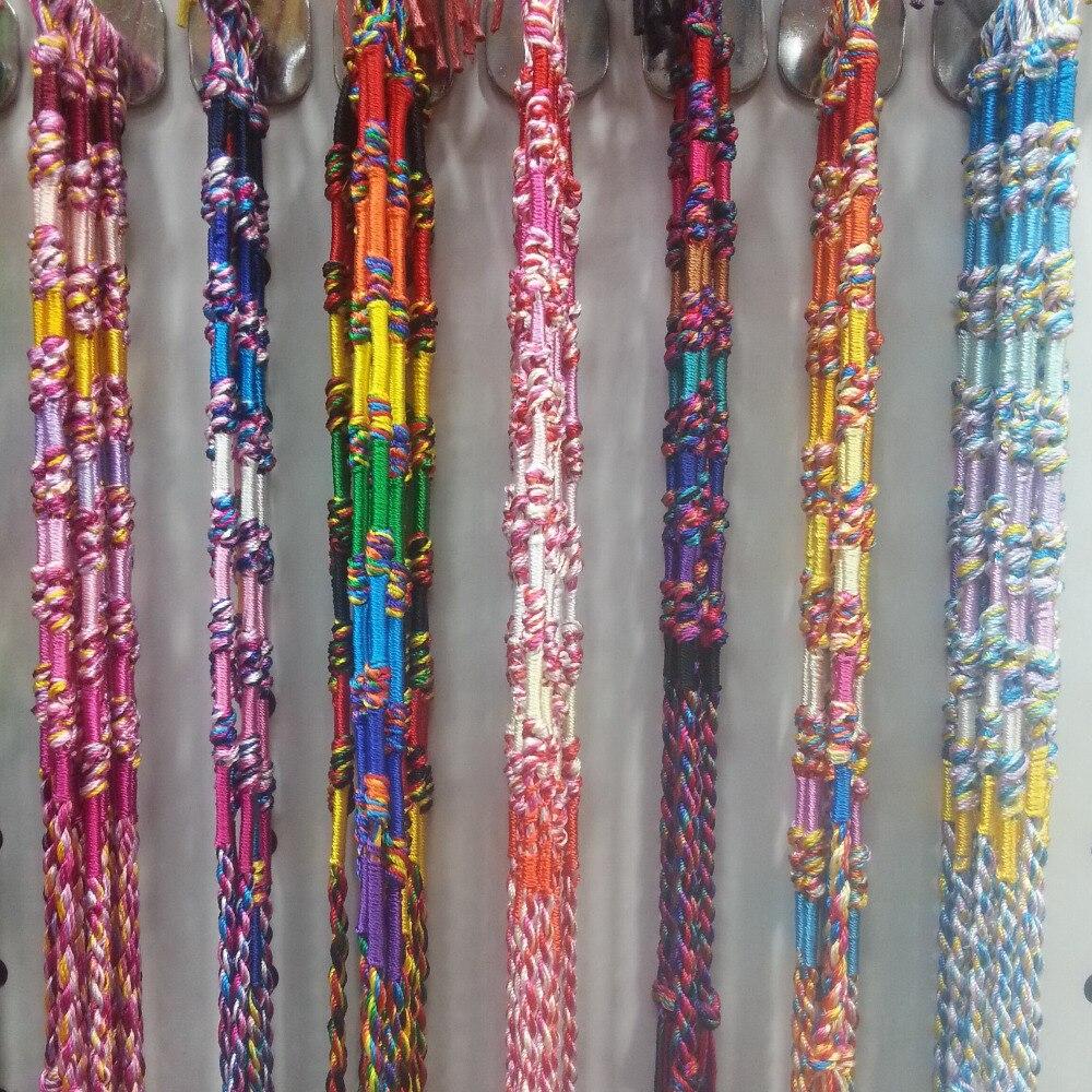 Atacado misto 120 pçs colorido macrame amizade pulseira meninos meninas presente arco-íris nós corda de seda pulseira