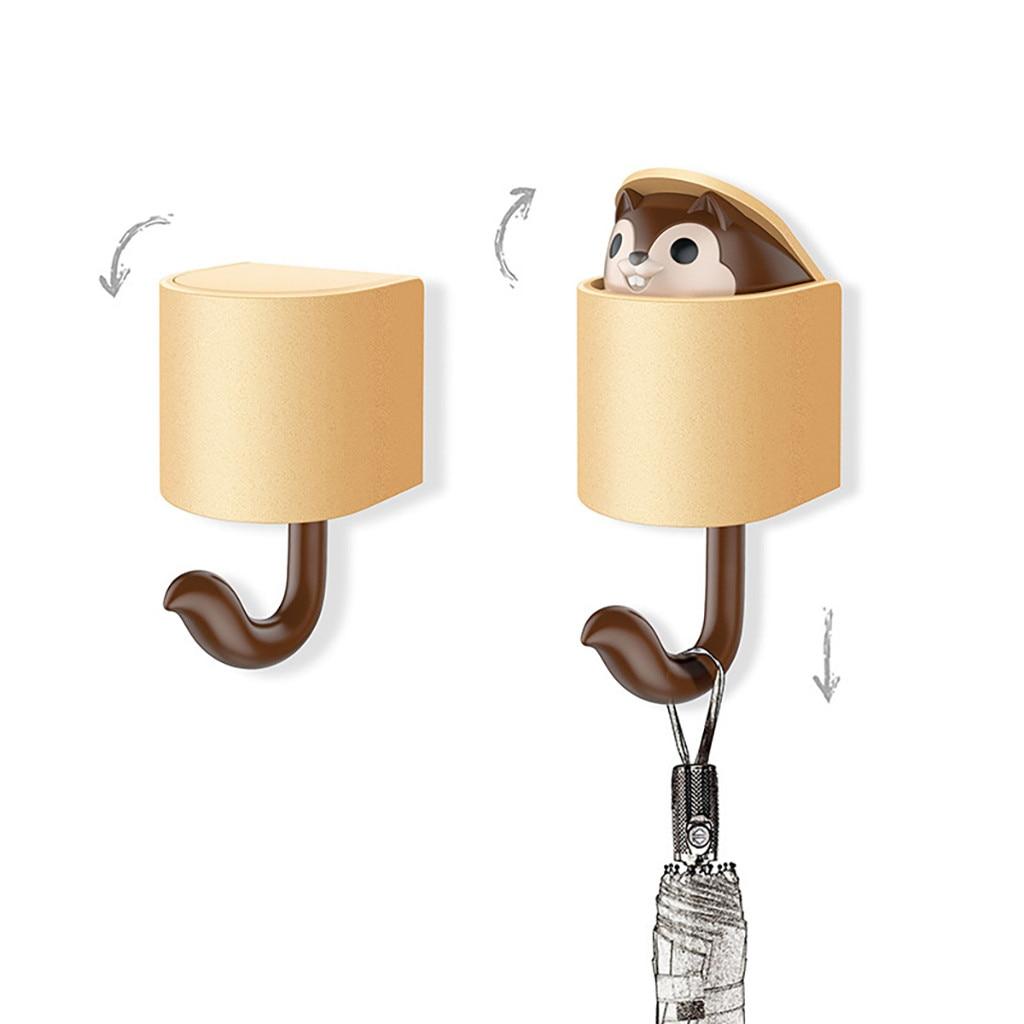 Leuke Eekhoorn Zelfklevende Haak Deur Plastic Haken Key Hnager Kids Kleerhanger Cap Keuken Organizer Handdoek Badkamer Haak
