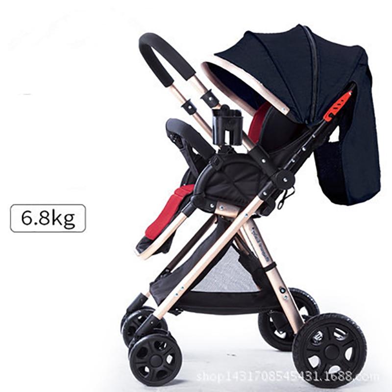 Babyfond عربة أطفال بمظلة عالية المناظر الطبيعية اتجاهين عربة طفل أربع عجلات صدمة أضعاف عربة أطفال إرسال 8 هدايا