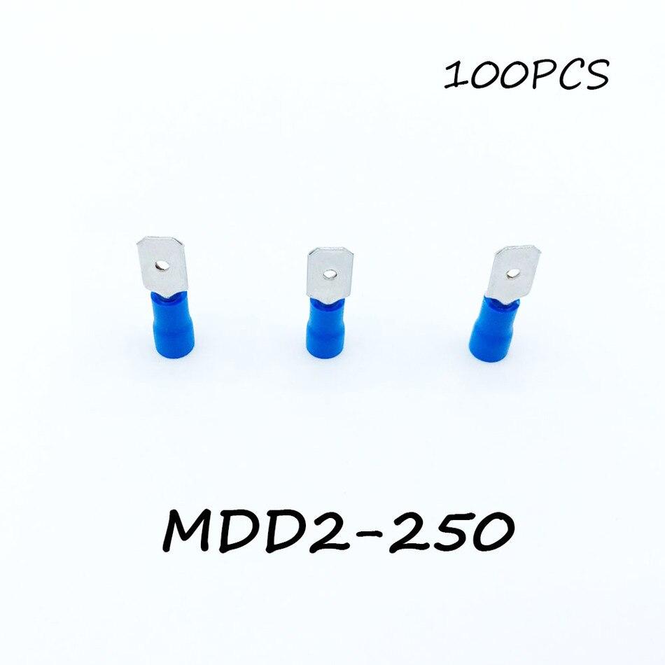 Изолированный мужской разъединитель MDD2-250 100 штук упак. синяя Лопата Быстрый электрический соединитель обжимной провод терминал AWG Терминат...