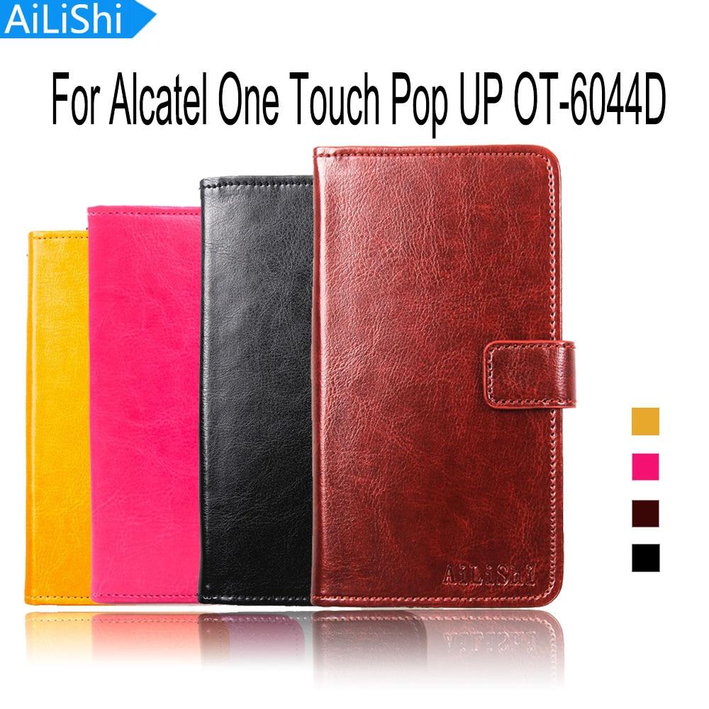 AiLiShi para Alcatel One Touch Pop UP OT-6044D cubierta protectora de lujo Bolso de piel cartera ranura para tarjeta de alta calidad Flip Funda de cuero