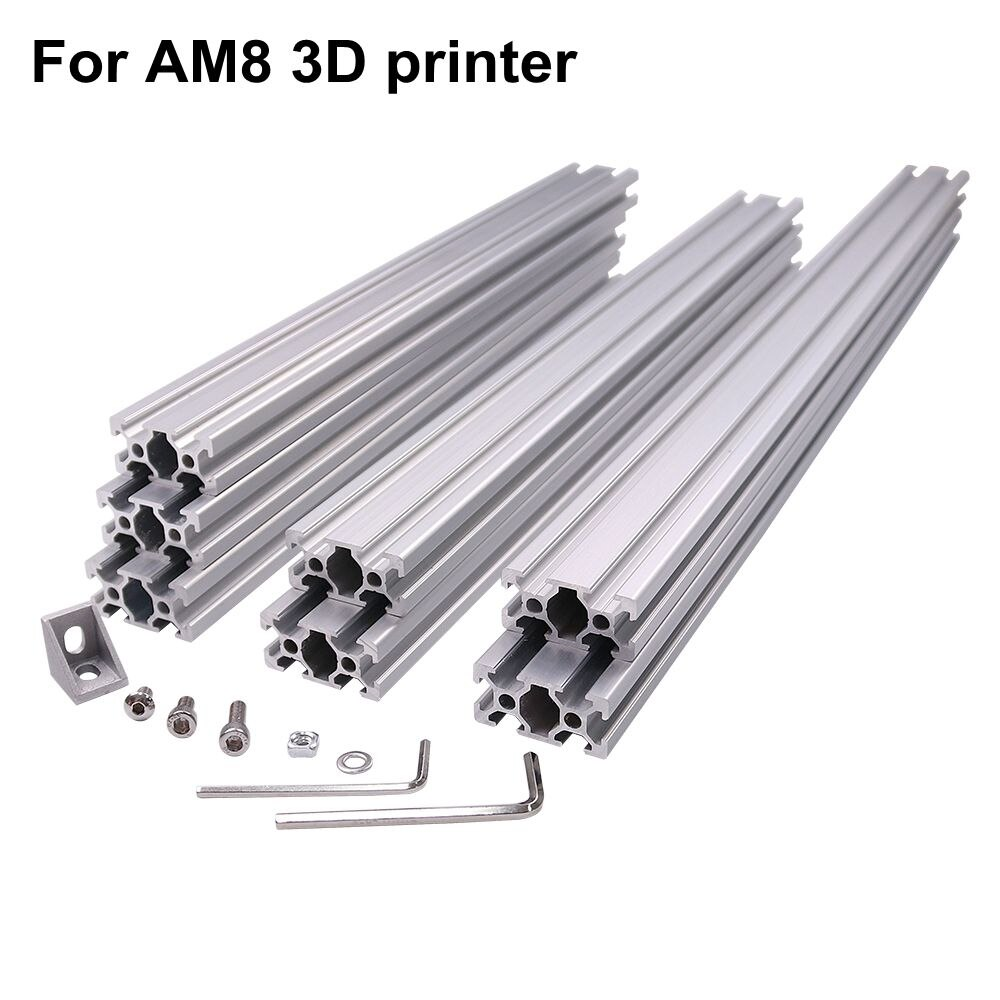 ¡Envío rápido! Marco de perfil de extrusión de Metal, aluminio, impresora 3D AM8 Color plateado con tuercas, soporte de esquina de tornillo