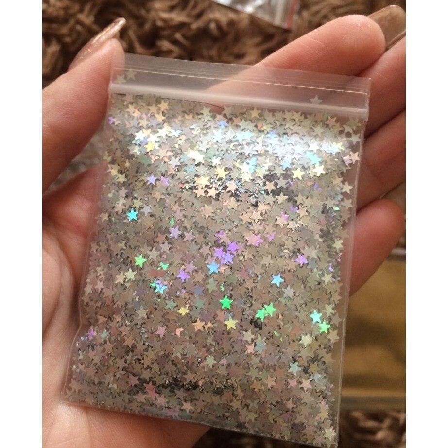 10 г Звездный конфетти 3 мм лазерный голографический Золотой конфетти с блестками для свадебной вечеринки и нейл-арта (1 сумка)