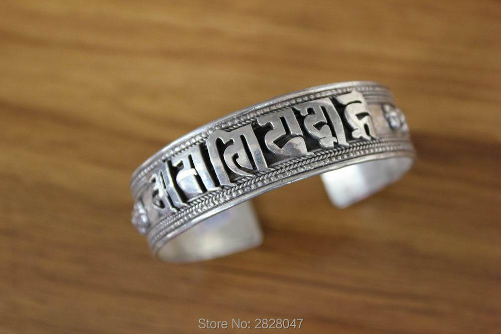 SL040 plata de ley tibetana étnica 925 seis palabras Mantra Dorje brazalete de espalda abierta 925 Plata 17mm ancho brazalete ajustable