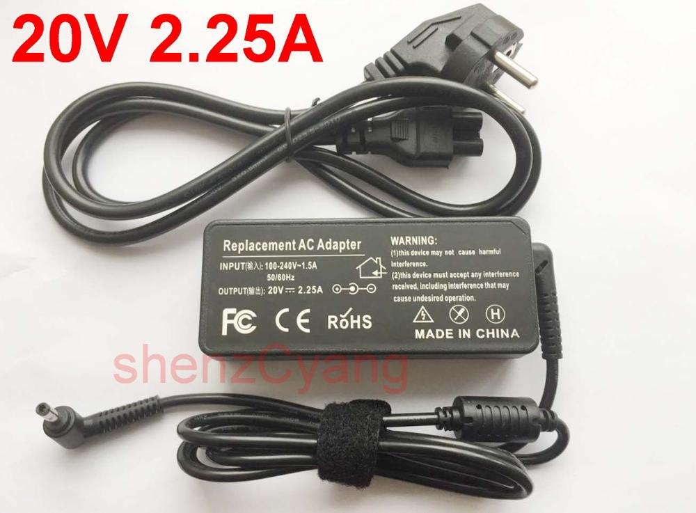 1 шт. 20 в 2.25A 4,0*1,7 мм зарядное устройство для ноутбука Lenovo IdeaPad 310 110 100 YOGA 710 510 Flex 4 5A10K78750 PA-1650-20LK кабель