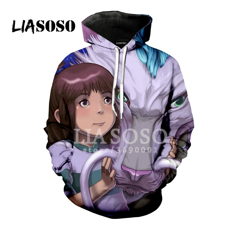 LIASOSO 3D Print Unisex con capucha sudaderas con capucha sudadera Anime en espíritu Ogino Chihiro Nigihayami Kohakunushi Tops Jersey X1233