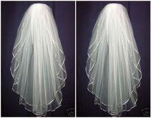 Haute qualité chaud 2 couche voile de mariage blanc voiles de mariée bord de Satin avec peigne livraison gratuite