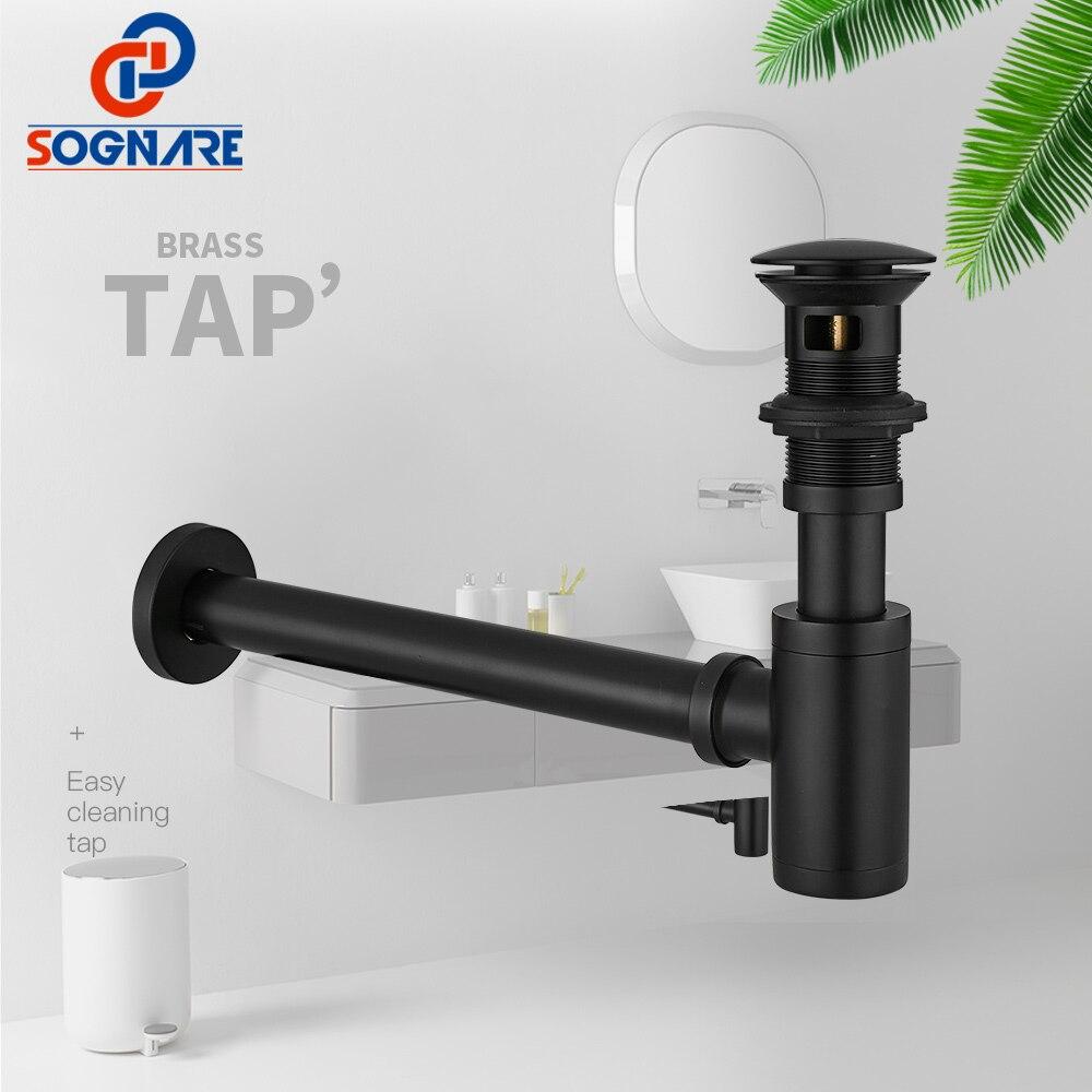 Sognare preto matte round siphon 100% latão P-TRAP parede banheiro vaidade bacia tubo de resíduos e pop up dreno com/sem excesso