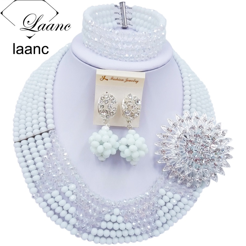 Laanc última boda nigeriana Africana cuentas conjunto de joyería blanco transparente cristal collar y pendientes pulsera establece C6R4S006