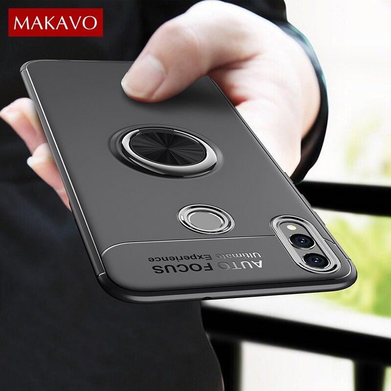 MAKAVO pour Huawei Honor 8X étui rotatif porte-bague en Silicone souple mat couverture arrière pour Honor 8X coque de téléphone peau