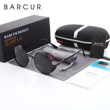 BARCUR-lunettes de soleil Steampunk rondes   Lunettes de soleil de styliste pour hommes et femmes, lunettes polarisées gothiques