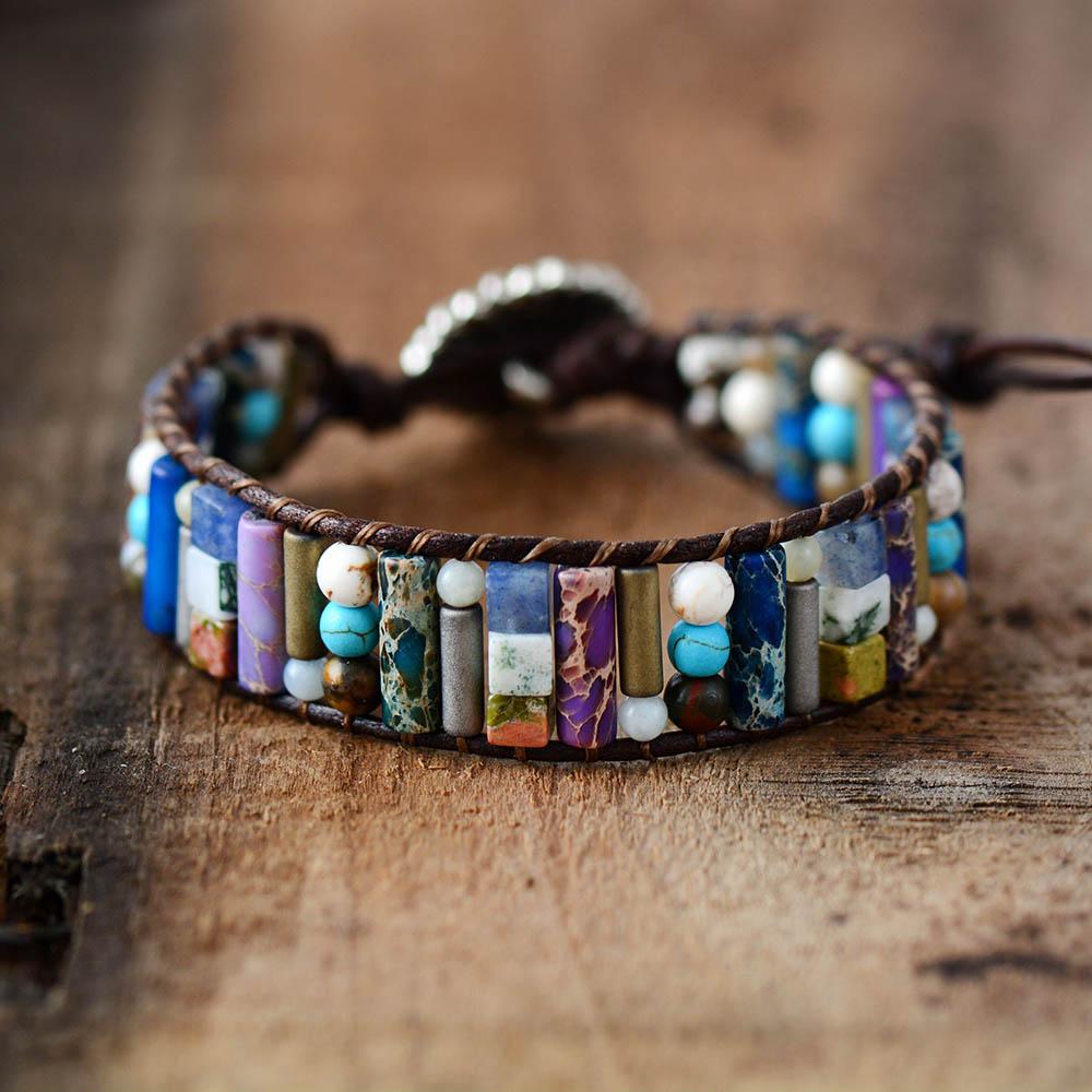 Women Boho Bracelet Tube Shape Natural Stone Single Leather Wrap Bracelet Semi Precious Stone Beaded Cuff Bracelet Dropship