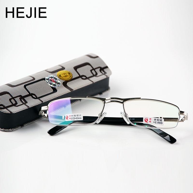 Fashion Men's Half Frame Alloy Coating Spherical Reading Glasses Size53-19-140mm Vidros de leitura da semi-borda da liga Y1163
