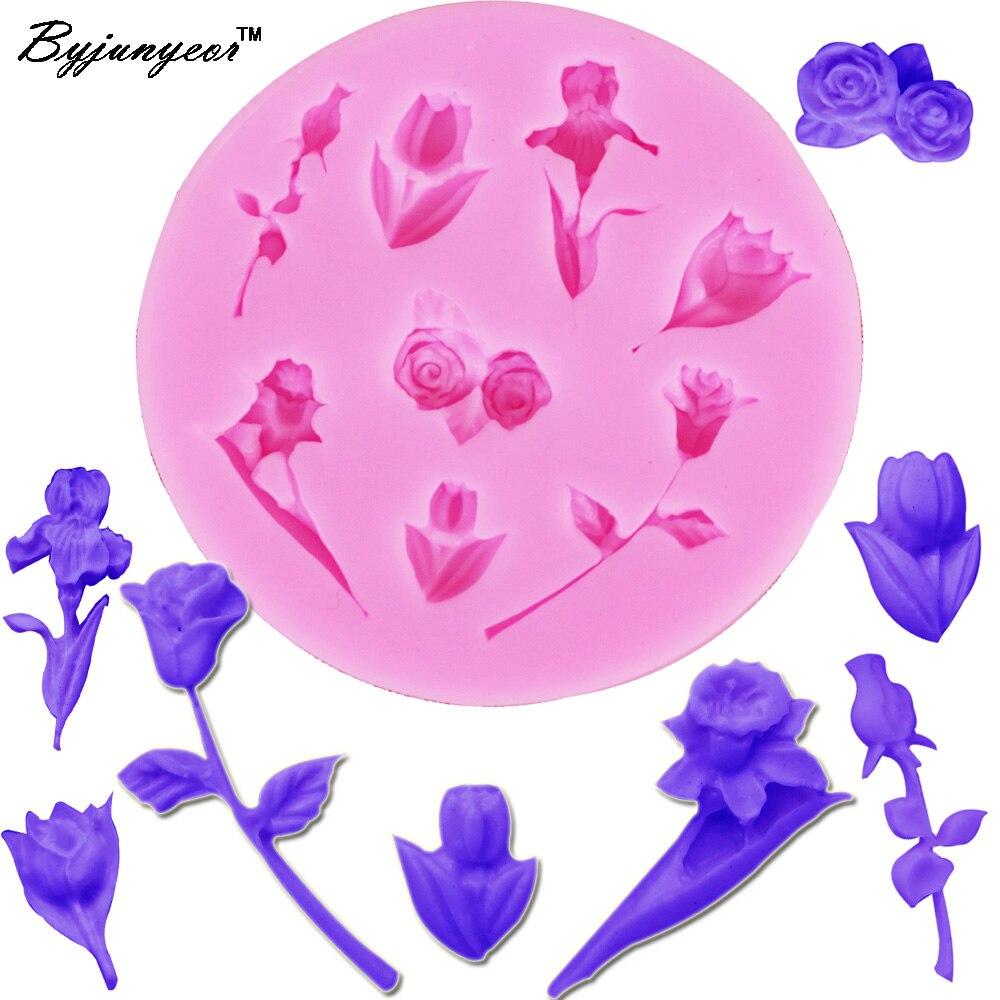 Epoxy UV Resin M319 Tulip Rose Flower Silicone Mold 3D Sugarcraft Fondant Candy Chocolate Mold  Cake Decorating Tool,7.8*0.9cm