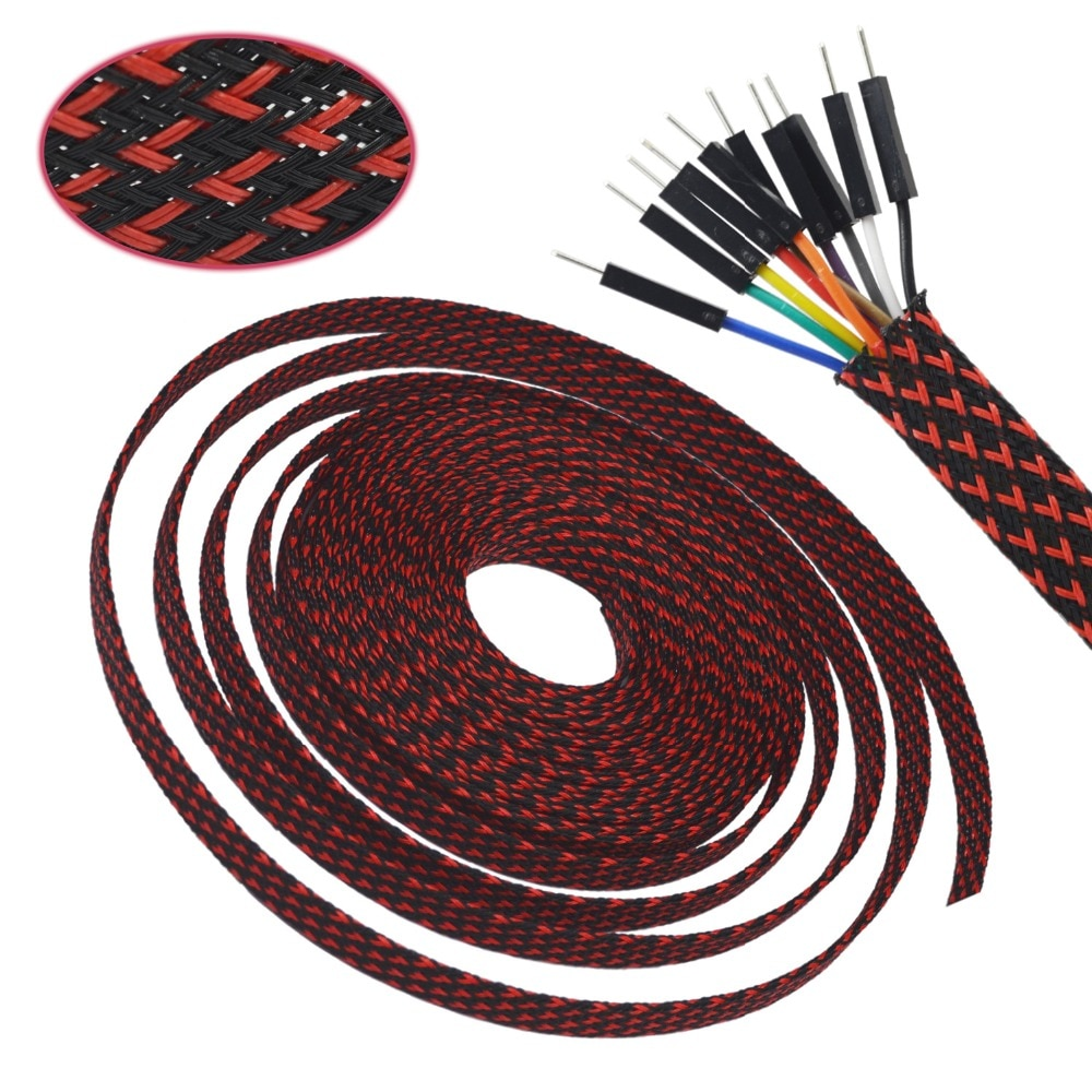 33ft-10m BlackRed 4 6 8 10 12 14 16mm trenza PET expandible Sleeving de alta densidad trenzado Cable mangas tejido DIY