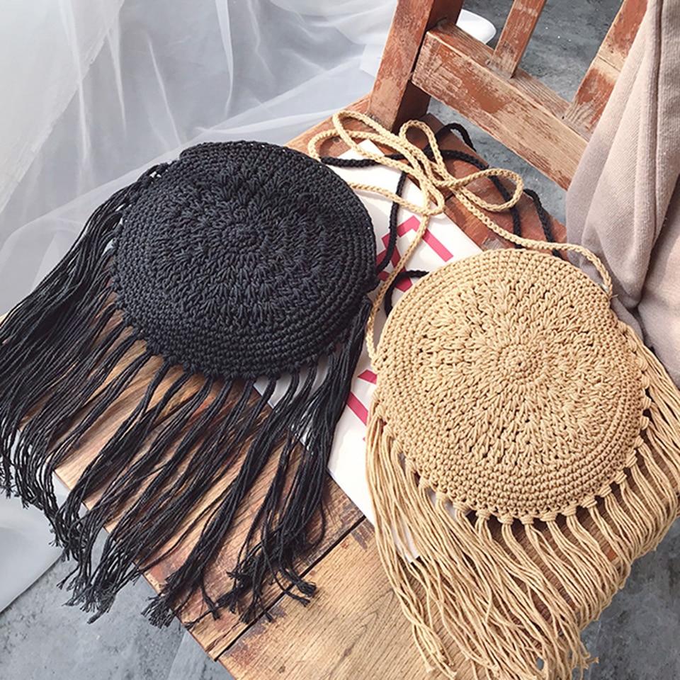 Oswego, pequeña bolsa de mensajero para mujer, 2019, nueva línea de algodón, bolsa de paja tejida a mano, borla de viento étnica, bolso de playa de verano, bolso