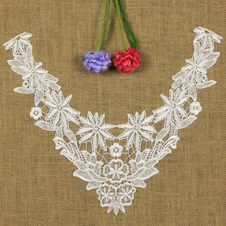 1 PC Embroidery Collar Lace Flowers Neckline Applique Trim, Collar Flower Fashion Hollow Decoration Clothing Acessories