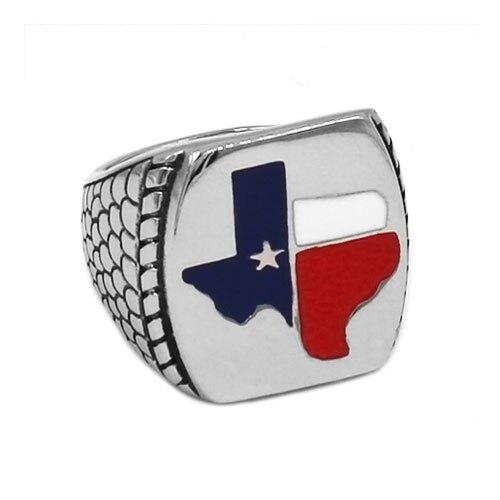 Оптовая продажа, байкерское кольцо с флагом Техаса, ювелирные изделия из нержавеющей стали, винтажное мужское байкерское кольцо с американ...