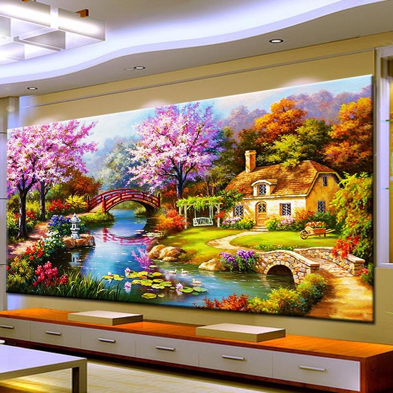 Aguja arte artesanía Diy pintura de diamantes punto de cruz Casa de ensueño diamante bordado paisaje de cabaña Rubiks Cube Drill cuadro