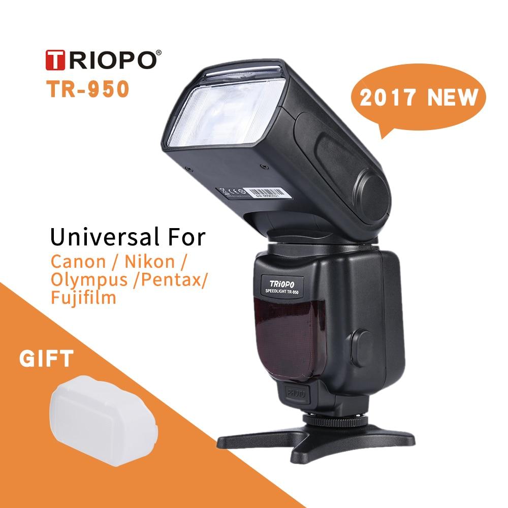 New Triopo TR-950 Flash Light Speedlite Universal For Fujifilm Olympus Nikon Canon  650D 550D 450D 1100D 60D 7D 5D Cameras