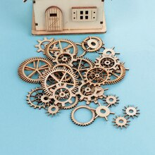 36PCS Mixed Wooden Craft Wheel Gear Pattern Round Hollow Scrapbooking Steam Handmade Home Decoration Embellishments DIY Craft