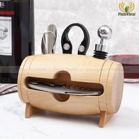4 pieces bar tool set wine bottle opener with wood box stand