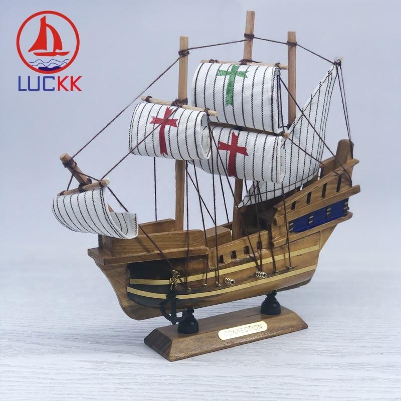 Suerte 20CM hecho a mano Retro SantaMaria modelo de naves Natural, Interior de la casa, decoración de madera Vintage cañón habitación adornos de velero