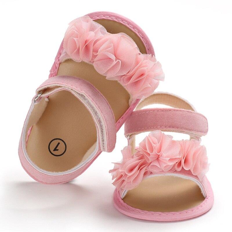 Bebê recém-nascido da menina do menino sapatos 0-1 anos de idade flor do bebê sandálias de Verão fundo de silicone não-deslizamento bebê sapatos da criança Prewalkers
