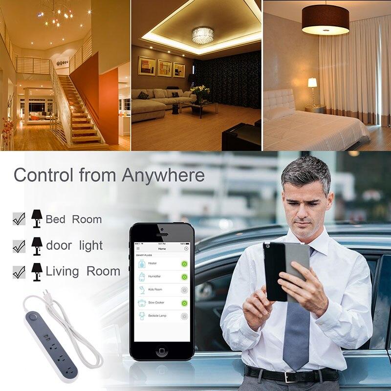 جديد الذكية واي فاي المقبس التحكم عن بعد متعددة الرافعات USB ميناء الولايات المتحدة 110 فولت التوصيل NE