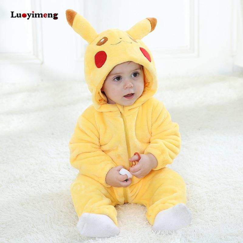 Peleles de bebé, ropa para niña, Kugurumi Pikachu, disfraz de Cosplay de Anime, pijama de niño recién nacido, mono suave cálido de franela