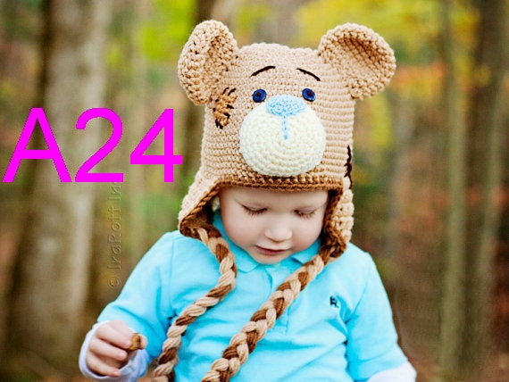 free shipping, 20pcs/lot Baby Toddler teddy bear cartoon Animal Crochet Beanie Hat Caps children's 100% handmade beanie hats